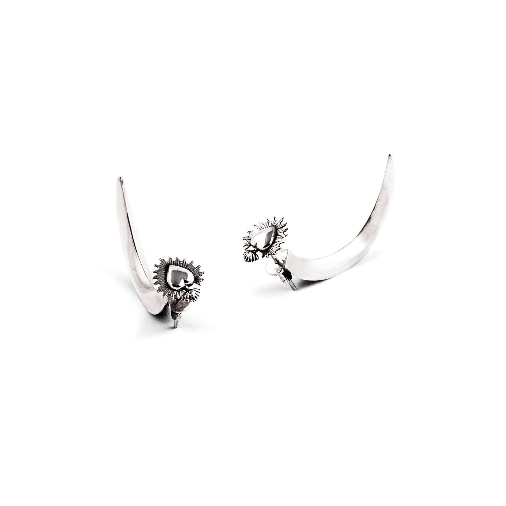 'Sacred heart' hook earrings Silver earrings